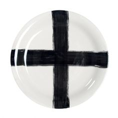Handmade ceramic serving plate with hand paint cross.