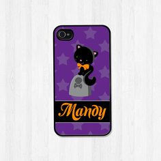 Personalized iPhone Case, iPhone 4, iPhone 5, Samsung Galaxy S3, Cute Cat on a Tombstone, Phone Case, Phone Cover, Halloween Gift (162)