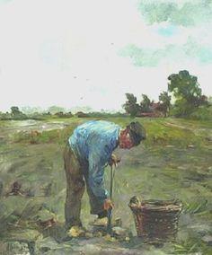 Hobbe Smith 1862-1942. Aardappels rooien.