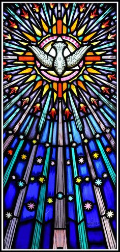 "Holy Spirit - Saint Esprit ""What is spirit? Spirit is that which animates. Spirit is that which fill Stained Glass Art, Stained Glass Windows, Mosaic Glass, Inspire Me Home Decor, Catholic Art, Religious Art, Saint Esprit, Church Windows, Church Banners"