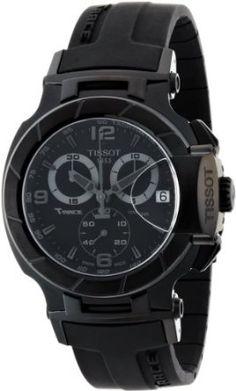 Sport watches#Tissot Men's T0484173705700 T-Race Black Chronograph Dial Black Rubber Strap Watch