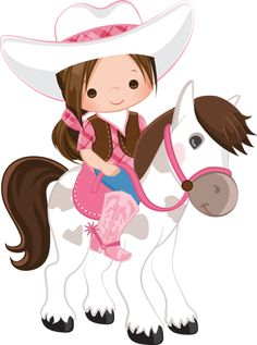 Cowgirl on Horse Idea Horse Birthday Parties, Cowgirl Birthday, Cowgirl Party, Kids Birthday Cards, Little Cowgirl, Cowboy And Cowgirl, Horse Party, Western Parties, Cute Clipart