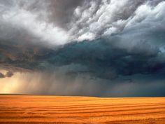 Storm Over Stubble Field, Saskatchewan, Canada