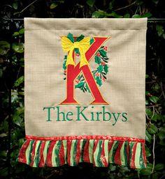 Monogrammed garden flag Christmas flag Chiristmas letter