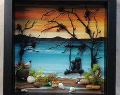 Pebble Art, Rock, Art, Pebble Art Couple, Rock Art Couple, in a swing on the beach, unique pebble art, 9x9x2 shadowbox, (FREE SHIPPING)