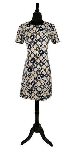 646a7e6067 1960 s Japanese Vintage MOD Scooter Dress  Navy   White Mid Century Print    Chic Youth Quake Day Wear   Fun Zip Front Shift Style