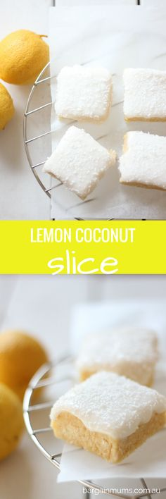 This LEMON COCONUT SLICE is officially the most popular recipe on our site for 2015  and for good reason, it's a must try http://bargainmums.com.au/lemon-coconut-slice