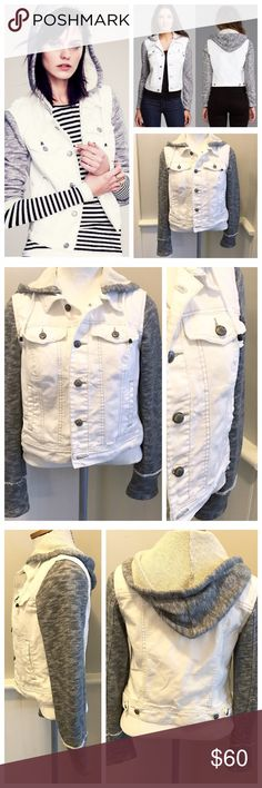 White & Grey, Knit Hoodie Mixed Media Jean Jacket Great jacket!! I love the cozy Knit sleeves and just about anything with a hoodie is a plus in my book. Great condition, no signs of wear, by Free People. Size Small, fits me well as a 6/8 but would be cute on a smaller frame also. Free People Jackets & Coats Jean Jackets