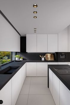 Black countertops in white kitchen (Black countertops in white kitchen) design ideas and photos Kitchen Room Design, Modern Kitchen Design, Interior Design Kitchen, Kitchen Ideas, Diy Kitchen, Kitchen Designs, Awesome Kitchen, Diy Interior, Kitchen Images
