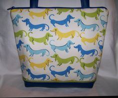Unique Blue Green and Yellow Dachshund  Wiener by OscarsCreations, $60.00