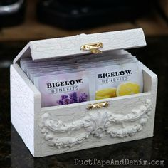 Today I'm making a DIY wooden tea box for my new flavors of Bigelow Benefits Tea. An easy DIY turns a plain wood box into a faux antique in an afternoon!