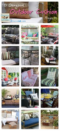 Outdoor Cushion Inspiration Idea Box by Confessions of a Serial DIYer 18 Gorgeous {Outdoor Cushion} Projects Outdoor Life, Outdoor Gardens, Outdoor Living, Outdoor Decor, Outdoor Furniture, Outdoor Projects, Garden Projects, Diy Projects, Cushion Inspiration