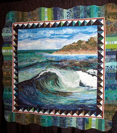 Surfer s Dreams by Kelli Thompson. This quilt was photographed at the 2008 Houston International Quilt Festival in Oct. Patchwork Quilting, Applique Quilts, Ocean Quilt, Beach Quilt, Landscape Art Quilts, International Quilt Festival, Quilt Border, Art Textile, Panel Quilts