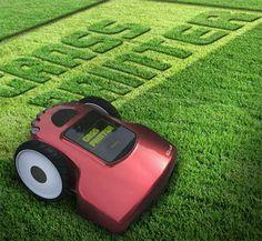 Podadora de cesped automática programable para ver mensajes en el pasto | La Guarida Geek