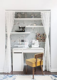 Tiny closet transformed into tiny sewing nook.  Very practical for the apartment crafter.