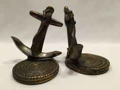 Dodge Ship Anchor and Rope Bookends Nautical Bronze Finish 5″ Set of 2 #Dodge