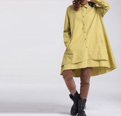 Women Loose long sleeved shirt Asymmetric yellow shirt от MaLieb