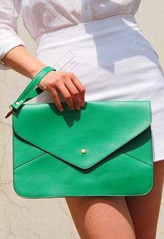 Oversize Vegan Leather Envelope Clutch Purse Bag / Green from EastWorkshop