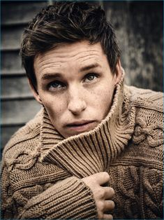 Eddie Redmayne dons a cozy turtleneck sweater for the pages of Rhapsody magazine.