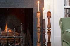 Old turned table legs or stair balusters make wonderful candlesticks. Use a paddle drill bit to create a seat for the candle just and inch or two deep. You can both sand and paint the candlesticks to match your decor, or enjoy their weathered appearance. Decor, Diy Candle Holders, House, Home, Decorating On A Budget, Stair Balusters, Old Houses, Candlesticks, Wood Balusters