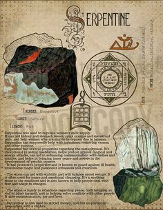 // Serpentine, Book of Shadows printable page. Wiccan Spell Book, Witch Spell, Wiccan Spells, Magick, Witchcraft, Alchemy, Crystals And Gemstones, Stones And Crystals, Hogwarts