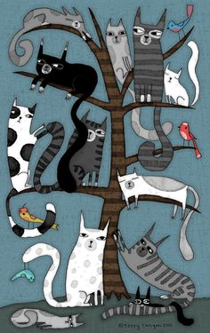 'CAT TREE' Metal Print by Terry Runyan - illustrations that inspire me - Cats Cool Cats, I Love Cats, Crazy Cats, Cat Quilt, Cat Tree, Cat Drawing, Drawings Of Cats, House Drawing, Drawing Ideas