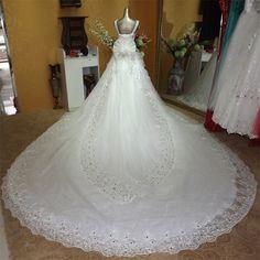 2014 quality luxury bling crystal V neck double shoulder straps train wedding dress bride LU010 bling wedding dress-inWedding Dresses from Weddings & Events on Aliexpress.com | Alibaba Group