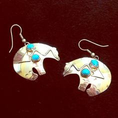 """Silver/TurqArrow BearEarrings Genuine Sterling Silver & Turquoise Arrow Bear Earrings.  These are at least 25 years old.  Measures about 1 3/4"""" Wide & 1 1/4"""" Tall.  True Handcrafted Beauties, purchased in the mountains of GA when I was a kid.lwontweylv. ❌NO TRADES📩Reasonable offers through Posh offer feature only💌 Jewelry Earrings"""