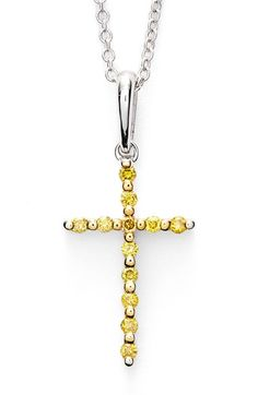 Bony Levy Yellow Diamond Cross Pendant Necklace (Limited Edition) (Nordstrom Exclusive) available at #Nordstrom