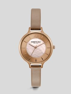 abf61ff18d55 Light Mother of Pearl Rose Gold-tone Leather Watch