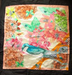 Christian Dior 2014 Resort Collection watercolour toned large square silk scarf £25.00