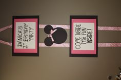 """Minnie Mouse birthday party banner Love the """"come inside..."""" text for front door"""