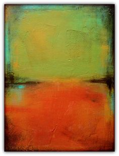 """Green and Orange Acrylic Painting - 18x24"""" Canvas Art - Textured Abstract Art"""