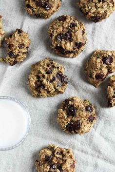 Vegan healthy chocolate chip Zucchini Oatmeal Cookies that are soft, chewy and…
