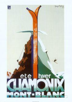 Eté-hiver Chamonix Mont-Blanc Poster par Henry Reb sur AllPosters.fr