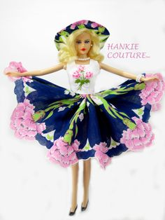 """Fabulous flowers inspire Hankie Couture!  A dress from a vintage hanky, to fit 11 1/2"""" Barbie, my custom-designed Hankie Couture doll (shown here), and similar sized dolls! #Hankiecouture #doll #hankie"""