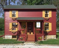 Sat on St. Mary's Road in Ste. Genevieve, Sassafras Creek Originals oozes early American charm both inside and outside. Red Houses, Colonial America, Travel Oklahoma, Local Attractions, New York Travel, Ste Genevieve, Early American, Windmill, Missouri