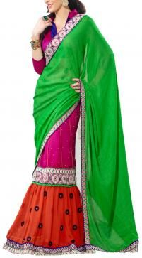 This exclusive green and pink georgette saree by Valley is really very light and comfortable to wear. Visit http://www.designerkapde.com today.