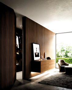 Wall Cladding Interior, Wood Cladding, Interior Walls, Home Interior Design, Interior Architecture, Interior Lighting, Interior Plants, Hidden Doors In Walls, Suites