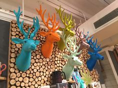 Felt Deer Heads Perfect for a nursery or home decor  Faux taxidermy  Colorful deer