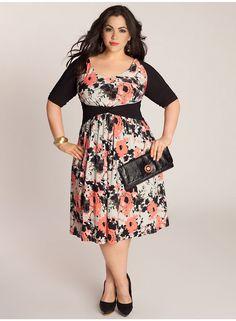 really pretty print, neckline, and sleeves - Dress from igigi.com