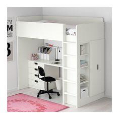 СТУВА Кровать-чердак/4 ящика/2 дверцы - белый - IKEA