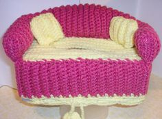 Sofa Style Tissue Box Cover Handmade Crochet in Magenta w/Soft Yellow Accents ** & Crochet Couch Tissue Box Cover with accent color on edges (Color ... Aboutintivar.Com