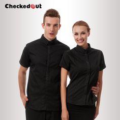 Top quality Summer waiter uniform checkedout restaurant uniforms work wear cook clothes