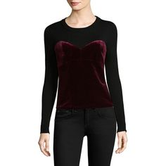 MILLY Velvet Corsetry Sweater (€220) ❤ liked on Polyvore featuring tops, sweaters, velvet long sleeve top, long sleeve crew neck sweater, crew sweater, layered tops and corset tops