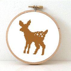 Deer pattern. Deer Cross Stitch pattern forest decor. Bambi white tail deer.
