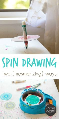Spin drawing is such a fun and mesmerizing action art activity for kids and adults alike. Here are two spin drawing techniques to try, both easy.