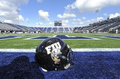 13 October 2012: An FIU helmet sits on the side of the field prior to the game as the Middle Tennessee State University Blue Raiders defeated the FIU Golden Panthers, 34-30, at FIU Stadium in Miami, Florida.