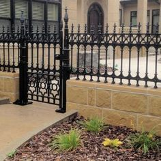 Stewart Cast Iron Fencing - Limited Stock on Full Height Railing and Half Height Railing. Iron Fence Gate, Fence Gate Design, Wrought Iron Fences, Victorian Fencing And Gates, Formal Garden Design, Cast Iron, It Cast, Victorian Irons, Gate Post