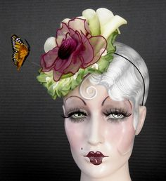 Calla+Lilly's+With+Monarch+Butterfly+Fascinator+от+ohmama+на+Etsy,+$145,00